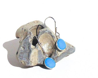 Sterling Silver Turquoise Earrings - Faceted Turquoise Dangle Earrings
