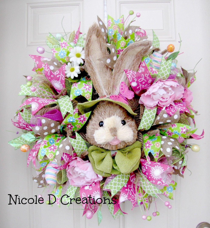 Easter Wreath Deco Mesh Wreath Front Door Wreaths Spring