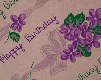 Gift Wrap, Vintage Paper, Happy Birthday, Purple  Violet Flowers,  Birthday Greetings Paper,1960s Wrapping, 1 Sheet,