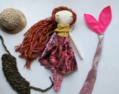 "pink and earthy mermaid lu girl - 14""ish handmade cloth doll"