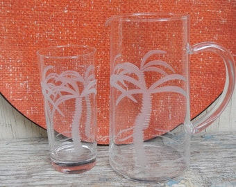 Etched Palm Tree Pitcher and Glass Set!