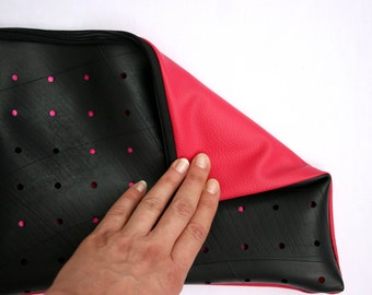 Faux-leather handbag from recycled air Chamber/pink and black handbag/Clutch bag vegan/synthetic leather Bag