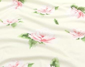 Rose Cotton Knit Fabric by Yard - Yellow
