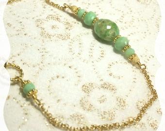 """Bracelet """"Hope Green"""" en Chrysoprase en Gold filled 14 carats"""