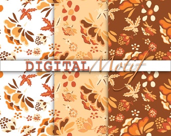 Orange Floral Digital Paper, Instant Download, Orange Scrapbook Paper, Printable Digital Download Autumn Paper, ORG