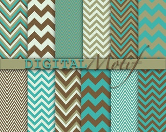 Brown and Turquoise Chevron Digital Paper Pack, Instant download, decoupage paper, Digital Background, Scrapbook paper - DM220