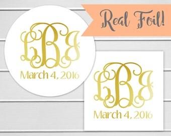 Foiled Wedding Favor Stickers, Monogramed Wedding Stickers, Foiled Monogram Wedding Labels (#156-F)
