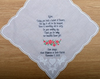 Something old !!! Personalized Wedding Handkerchief for flower girl. Flower girl handkerchief. Gift to flowergirl! Today you hold a basket