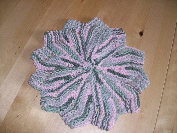 Knitted Dishcloth Patterns For Variegated Yarn : Knit variegated pink and gray cotton yarn by JamesRiverCrafts