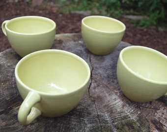 Vintage 1950s Russel Wright Iroquois Avocado Mugs (Set of 4)