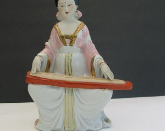 Beautiful  Porcelain Japanese  Gisha Playing A String Instrument
