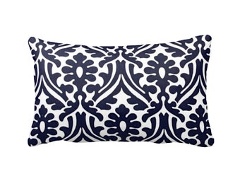 SALE | 30% OFF: Navy Blue Pillow Cover Navy Throw Pillow Cover Navy Pillow Damask Pillow Cover Navy Lumbar Pillow Decorative Pillow for Bed
