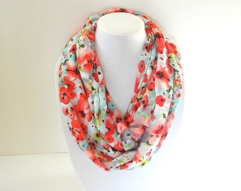 Infinity Scarf, Printed Scarf, Floral Scarf, Turquoise Coral Scarf, Chiffon Scarf, Lightweight