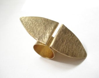 Unique Handmade Metalwork Ring-Adjustable Big Ring-Contemporary Bronze Ring-Fold Formed Ring-Handhammered Three Fingers Modern Shape Ring