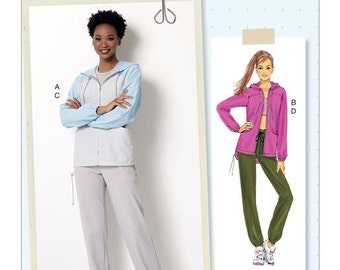 Butterick Pattern B6386 Misses' Seamed Jacket with Hood and Drawstring Pants