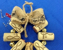 Mini CORK Jingle bell WREATH gift topper Holiday decoration Tree Ornament Wine Corks Free Shipping