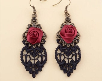 Unique Brass & Satin Red Rose Black Lace Drop Earrings