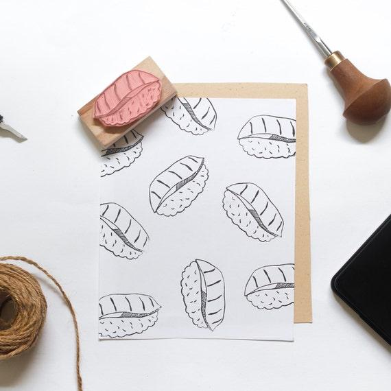 Tuna Sushi Linocut Stamp - Handmade Linocut Stamp Rubber Stamp
