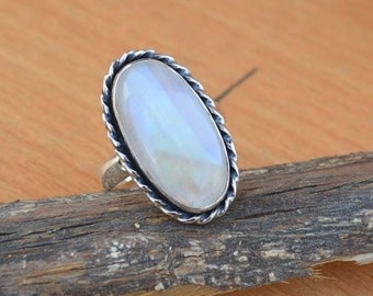 AAA Rainbow Moonstone Gemstone Ring, Moonstone Ring, Solid 925 Sterling Silver Ring, June Birthstone Ring, Classic Gift Ring Size 8.5
