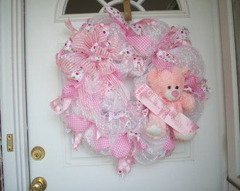 Baby Girl Wreath, Its A Girl Wreath, White and Pink Wreath, Baby Girl Shower Wreath, Baby Shower Decoration, Baby Girl Room Decoration