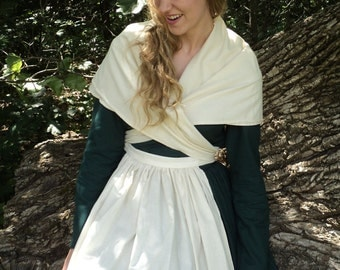Early American/Colonial Women's kerchief  Crossover shawl and apron set made of Cotton Muslin- MADE-TO-ORDER