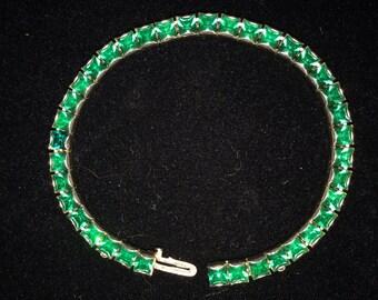 Vintage Green Rhinestone Bracelet