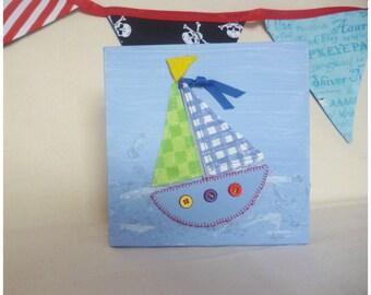 Boat Canvas, Sailing Boat, Mini Canvas, Boys Gift, Nautical Picture, Small Boat Canvas, Boys Wall Art, Sail Boat, Nautical Art, Ships
