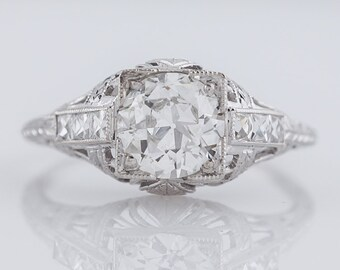 Antique Engagement Ring Art Deco GIA .94ct Old European Cut Diamond in Platinum