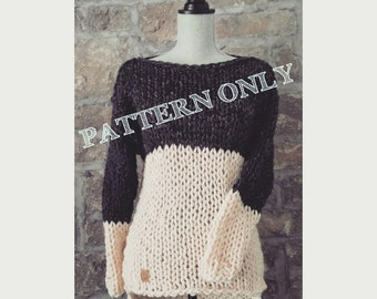 Knitting Pattern for the Two Tone Tunic - Sweater knit pattern, knitting pattern sweater, chunky knit sweater pattern, sweater