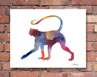 Spider Monkey- Art Print - Abstract Watercolor Painting - Animal Art - Wall Decor