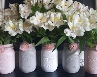 5 Piece Pint Size Ball Mason Jar Vase Set with Baby Pink Lace Flower Embellishment