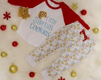 I ate Santas Cookies Baby Toddler Raglan Shirt Glitter HTV