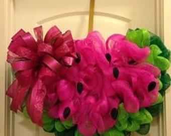 Pink watermelon wreath