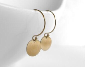 Modern Gold FIlled Earrings, Disc Earrings, Minimalist Jewelry, Everyday Jewelry in Atigga Shop