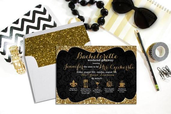 New Orleans Weekend Bachelorette Invitations - Bachelorette Weekend Invitation - Bachelorette Timeline Invitation - Bachelorette Itinerary
