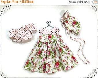6 to 9 month baby dress summer outfit infant set baby bonnet baby outfit summer dress pink floral dress pink dress baby shower new baby