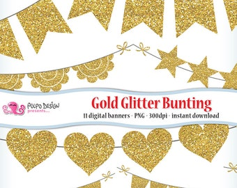 Gold Glitter Bunting Banners Clipart. Digital clip art. Commercial & personal Use. Instant Download.PNG golden shiny glittery sparkly banner