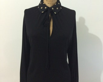 Valentino 70's vintage black viscose blouse with gold trim size L