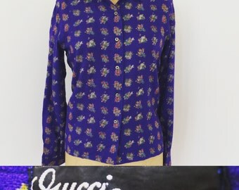 Gucci Vintage Purple light weight wool floral print womens blouse