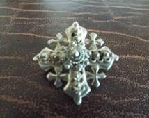 Jordan Sterling Cross Pendant Brooch, Vintage Jewelry, Ethnic Jewelry, Israel, Maltese Cross 10.83 Grams