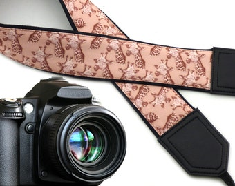 Giraffe camera strap. Beige camera strap. DSLR and SLR  Camera accessories. Durable, light and padded camera strap by InTePro
