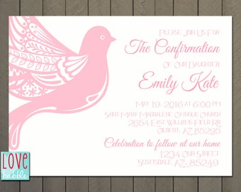 Baptism, First Communion, Confirmation Invitation, PRINTABLE DIGITAL FILE 5x7