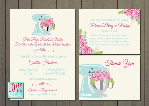 Wedding Shower Thank You Gifts: Kitchen Bridal Shower Invitation Thank You Cards Recipe