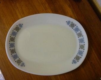 Retro JAJ Pyrex  Chelsea Pattern. Six Large steak plates. Sixties Oval Pyrex plates