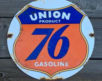 Union 76 Gasoline Porcelain Sign