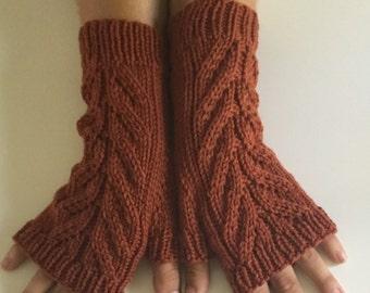 Hand knit fingerless mitts, merino wool fingerless gloves.