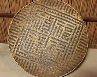 Vintage Southeast Asian Bamboo Basket With Lid