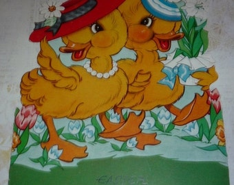 Can You Say Adorable?  Cute Ducks Dressed Up for Easter Unused A-Meri-Card Greeting