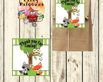 Printable  Thank you for coming woodland animal tag