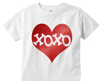 XOXO Inside Electric Red Heart Valentines White Kids Shirt